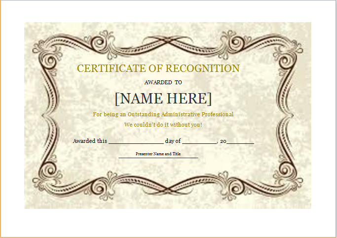 Certificate Of Recognition Download At HttpWwwDoxhubOrg