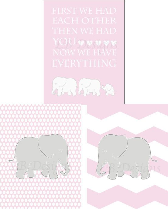 Set Of 3 Gray And Pink Elephant Family Nursery Quote Prints 8x10s