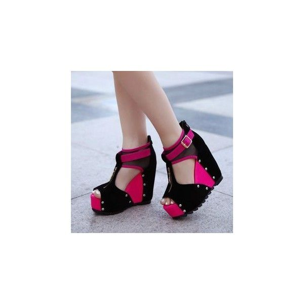 Studded Platform Wedge Sandals ($30) via Polyvore featuring shoes, sandals, footware, red studded shoes, platform wedge shoes, polyurethane shoes, red shoes and studded sandals