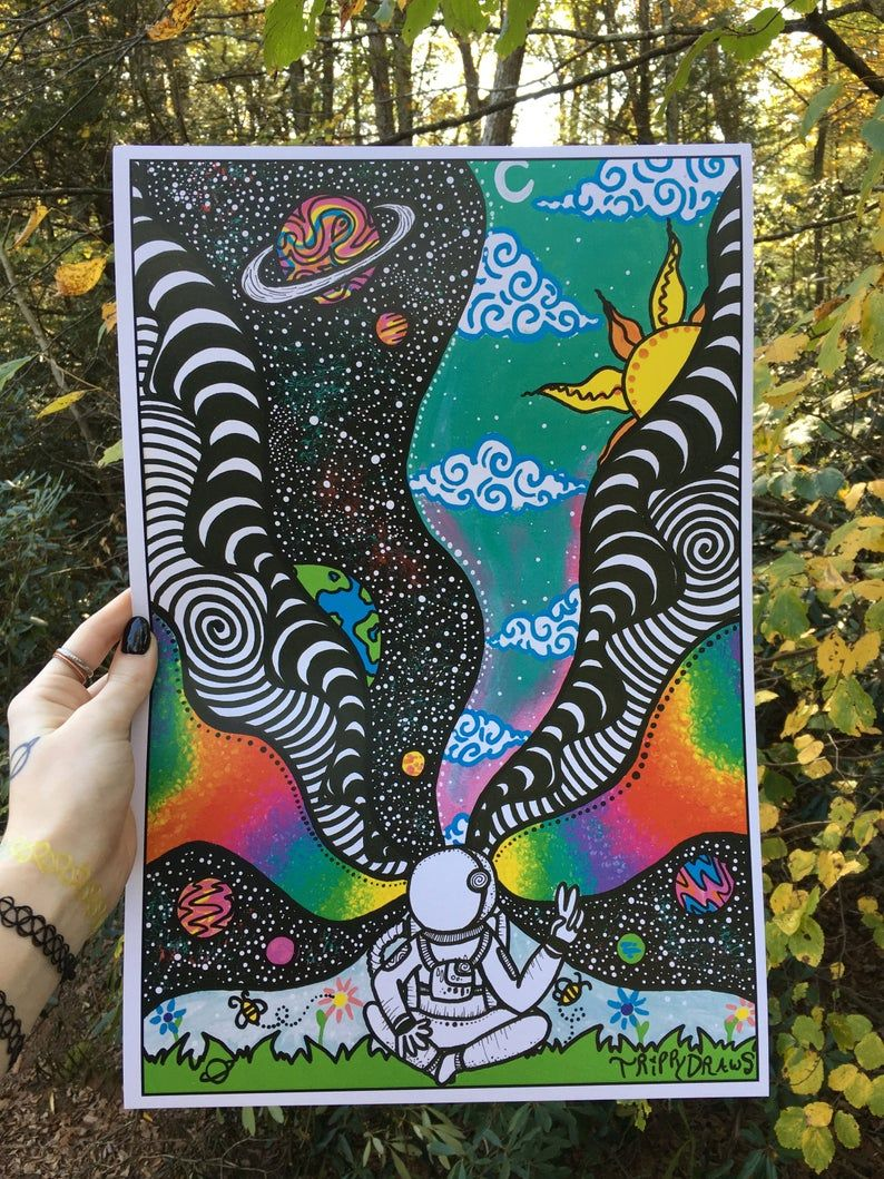Astronaut print etsy in 2020 hippie painting