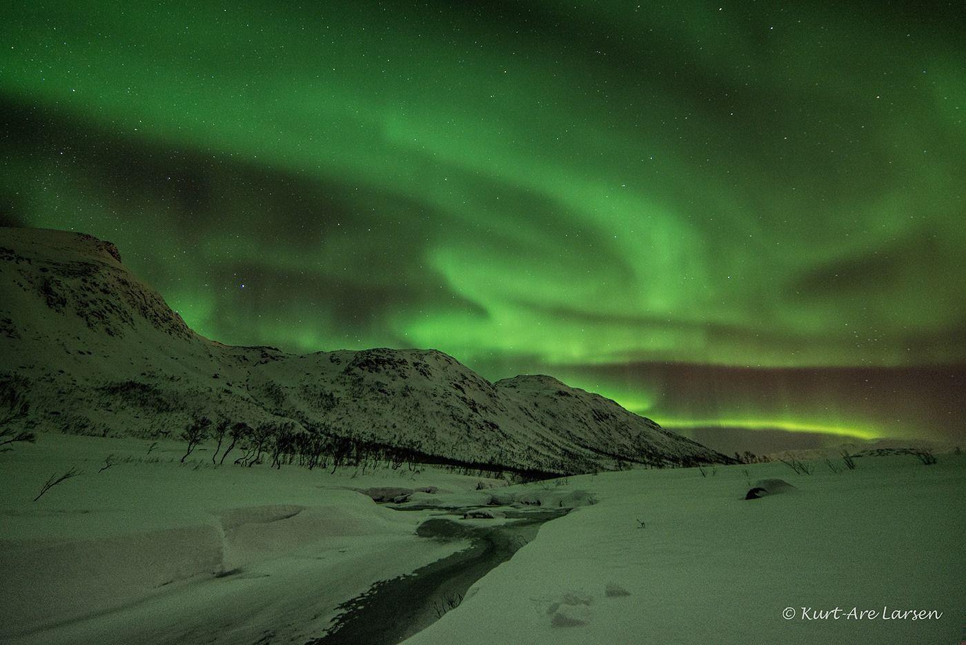 Årets første Nordlysbilde. Bildet er tatt 1/1 2014. Norway