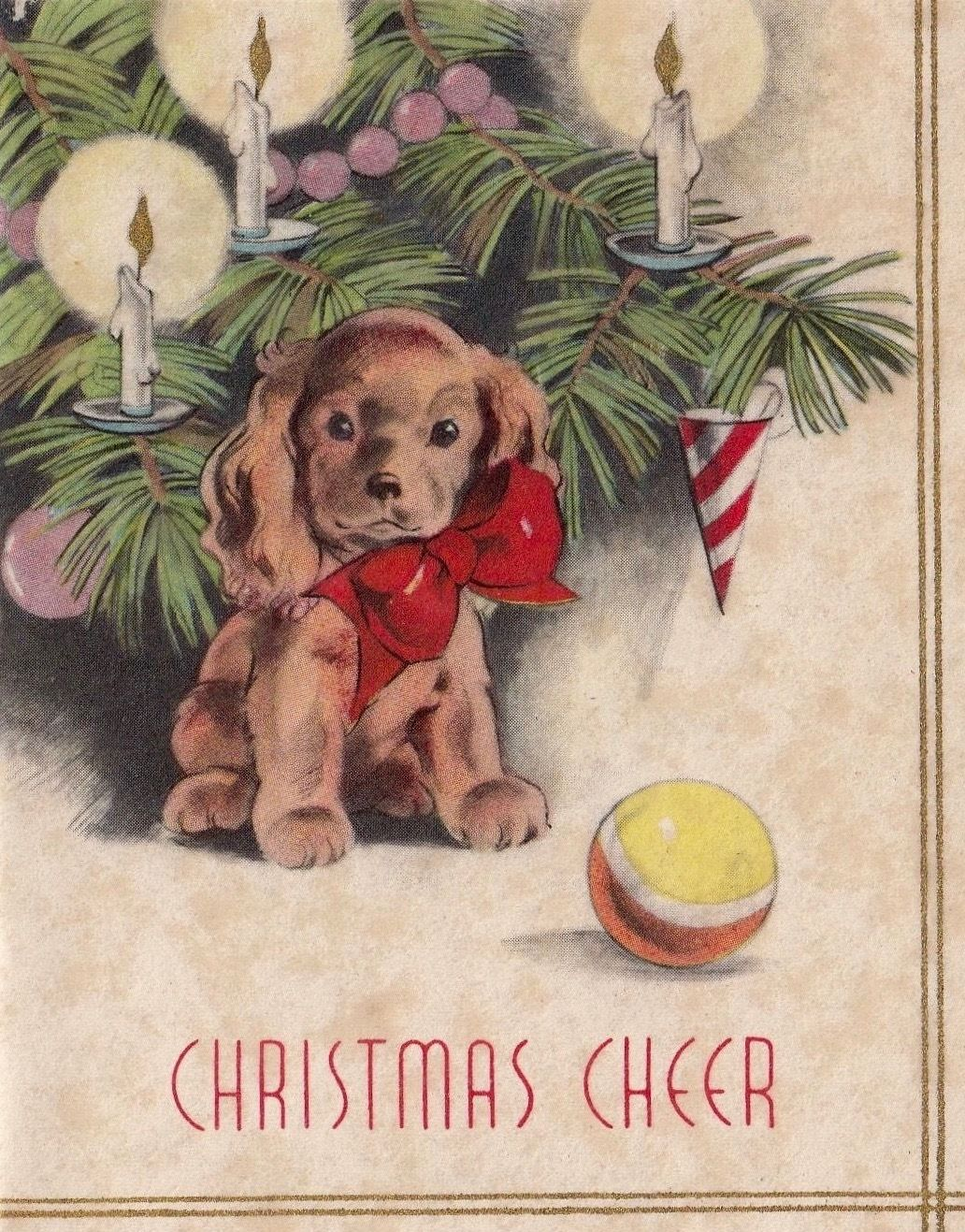 Art Deco Christmas Card. Christmas Puppy. Christmas Cheer. Vintage ...
