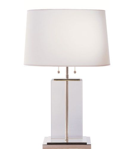 Visual Comfort Thomas Obrien Large Crystal Block Table In Crystal With Cotton Shade Tob3030cg C Table Lamp Large Table Lamps Chandelier Table Lamp