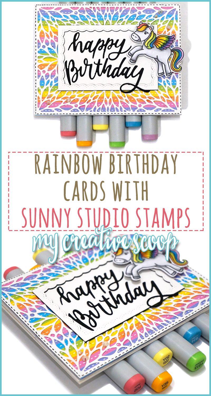 Happy Birthday Rainbow Card with Sunny Studios Stamps ...
