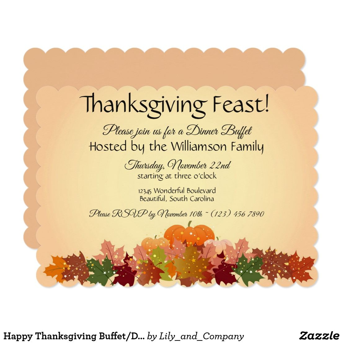 Happy Thanksgiving Buffet Dinner Feast Invitation