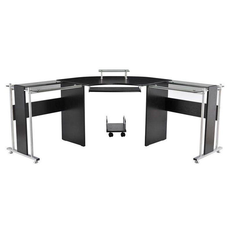 Homcom 69 In Modern L Shaped Symmetrical Glasstop Office Workstation Computer Desk With Images Modern L Shaped Desk Best Home Office Desk Office Workstations