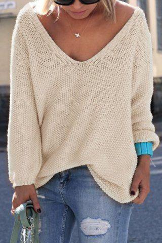 60ed40e512 Sencillo cuello en V manga larga de color puro de Ajuste Holgado suéter de  las mujeres