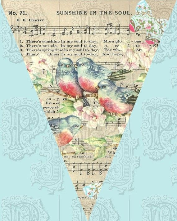 Banner imagens vintage shabby shic pinterest banners vintage a gorgeous hanging banner garland with a pretty flock of bluebirds and vintage sheet music great idea with a decoupage look over the sheet music gumiabroncs Choice Image