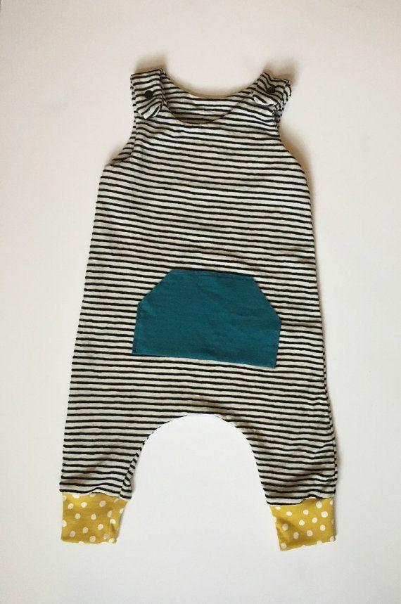 ef84bc662 Summer Striped And Polka Dot Pocket Harem Romper • Boy or Girl ...
