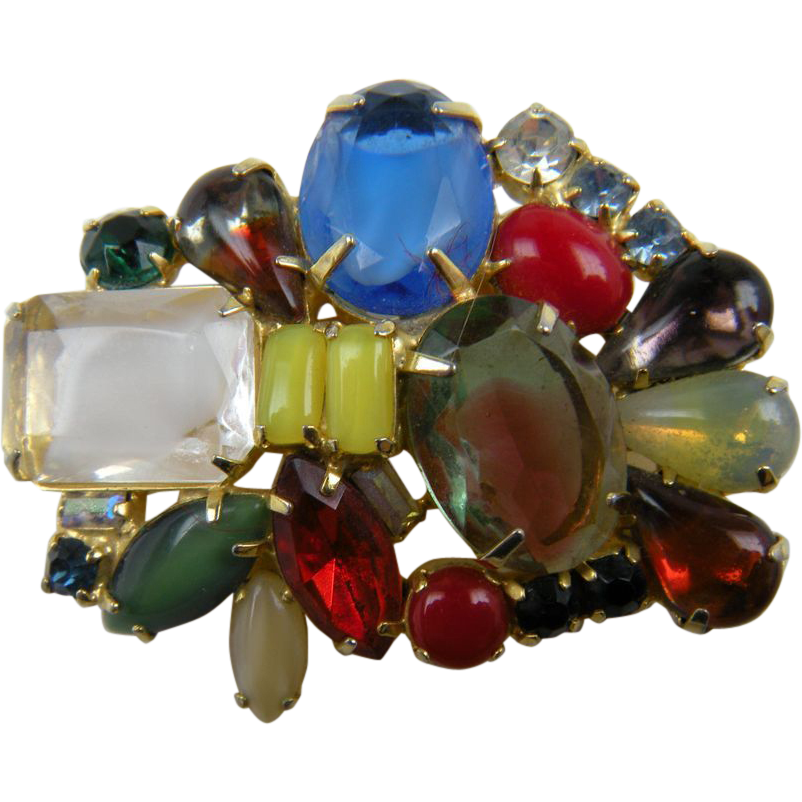 This one is a real feast for the eyes with its explosion of colors!  Bright colors and unusual stones abound in this large gold plated brooch