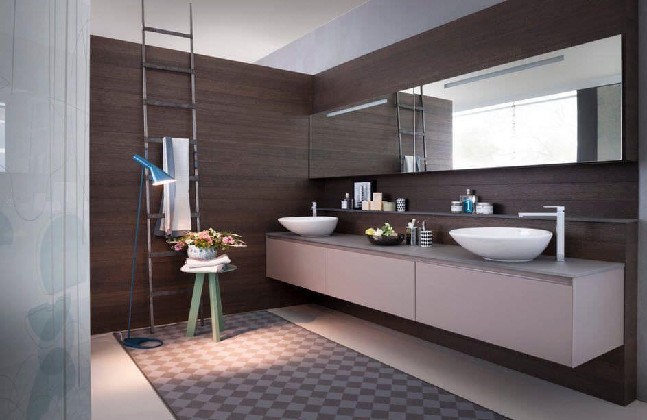 Wall mounted double washbasin cabinet pedini bathroom