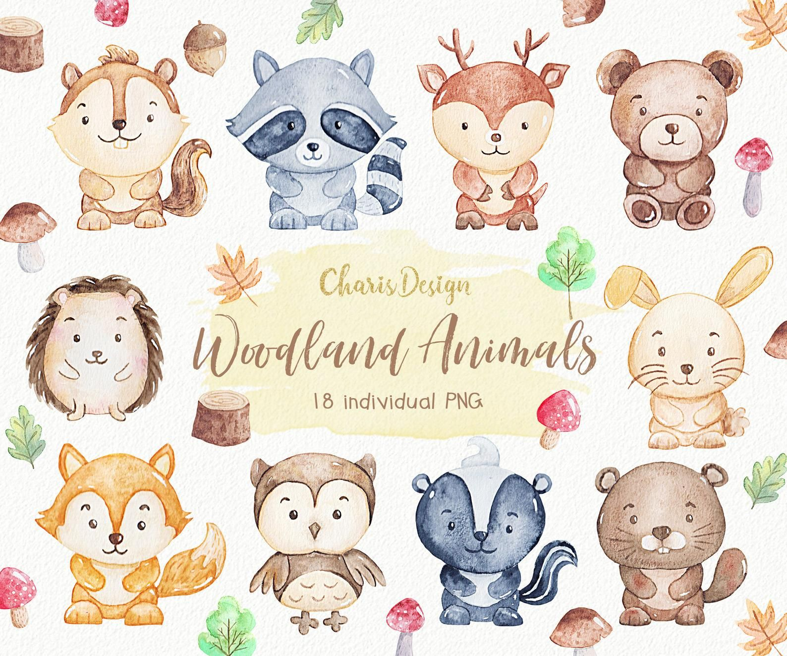 Woodland Animal Illustration Watercolor Clipart Nursery Forest Cute Baby Squirrel Raccoon Deer Fox Owl Bunny Hedgedog Skunk Beaver Bear Animais De Aquarela Ilustracoes Bichinhos Fofos