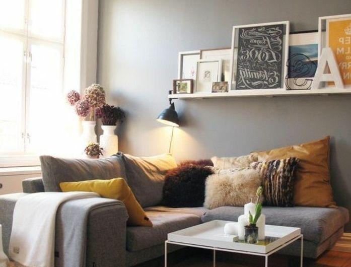 magnifique idee deco salon gris murs gris clair