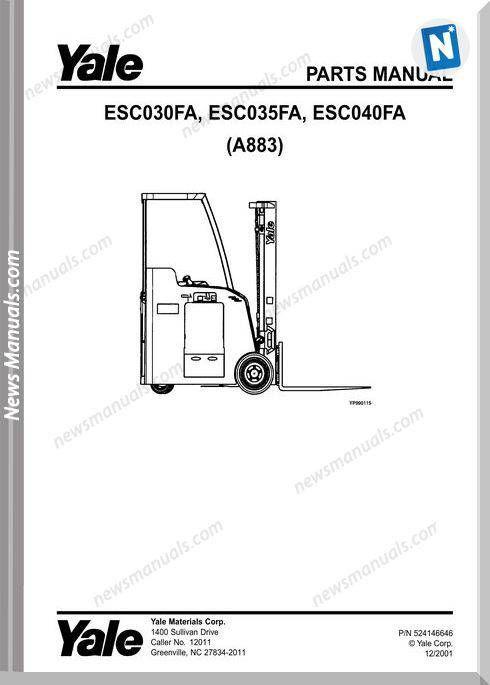 Yale Esc-Fa-030-035-040 (A833) Service Parts Manual