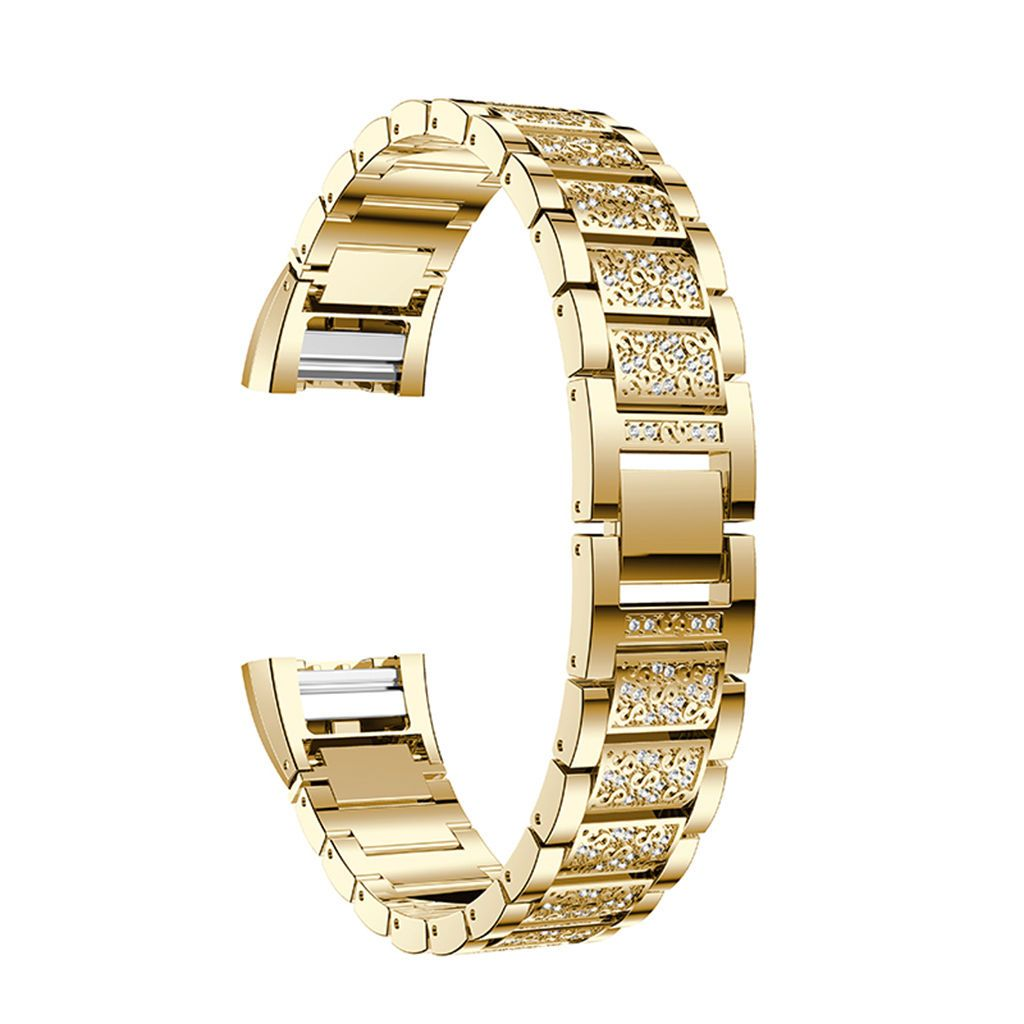 Gold adjustable rhinestone stainless steel wrist bandtool for