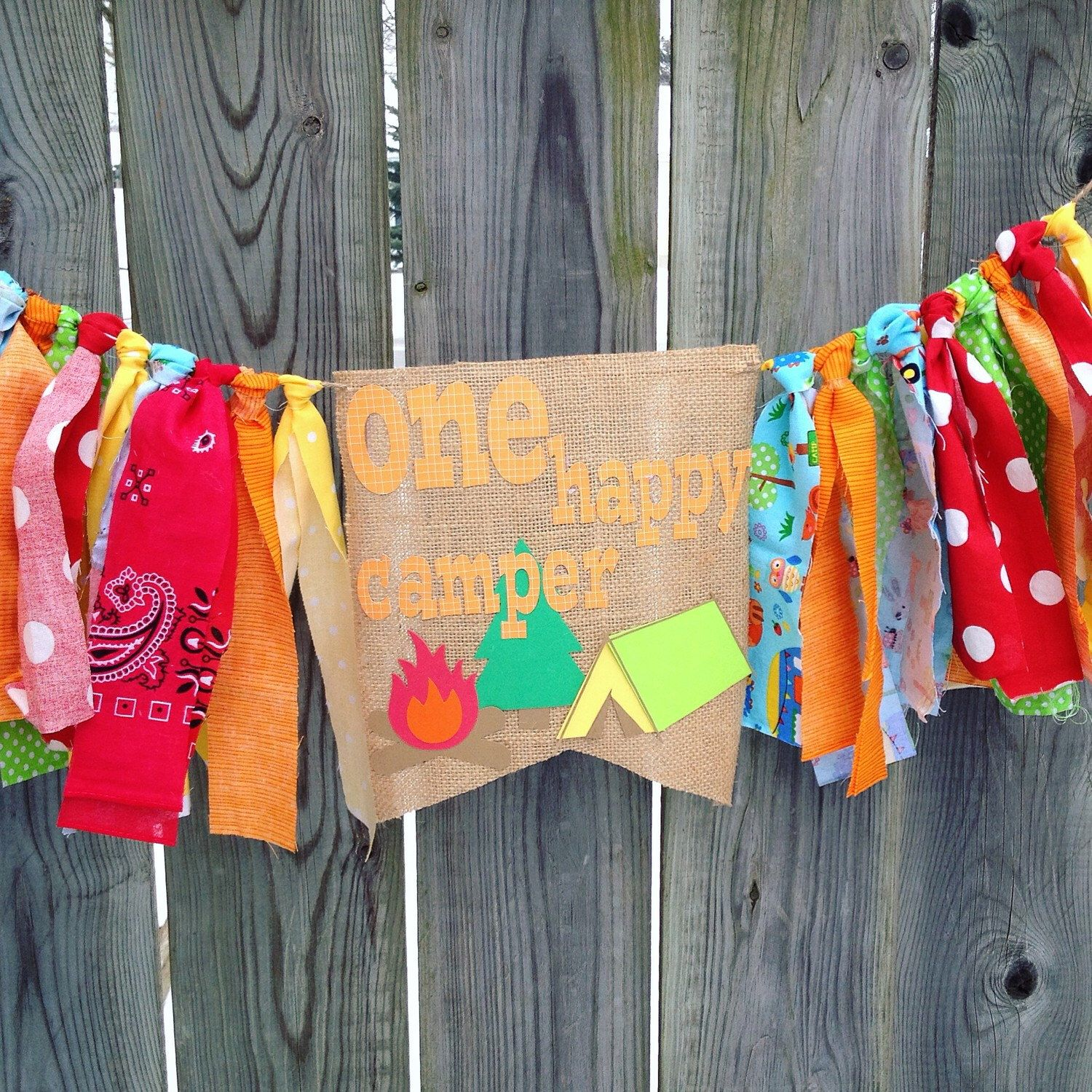 one happy camper birthday high chair banner highchair bunting cake