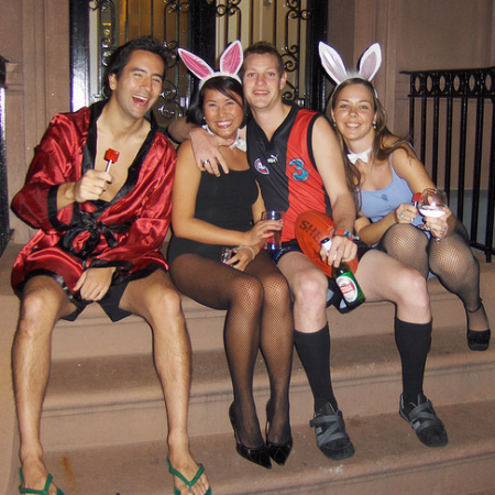 Hugh Hefner and Playboy Bunnies Group Costume Idea #Creative Group Halloween Costume Ideas # ...
