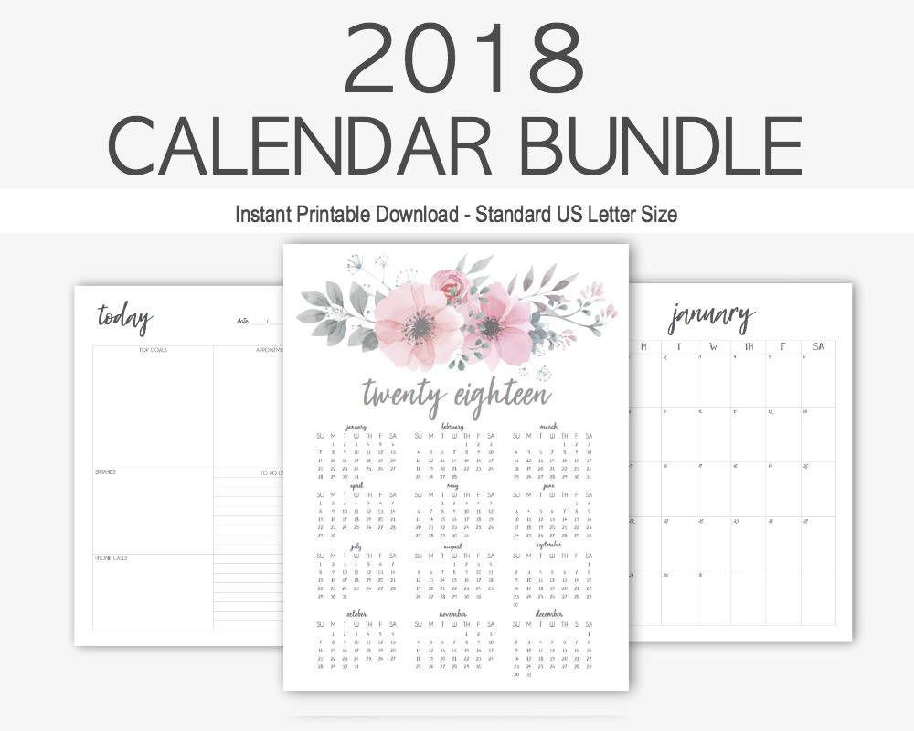 Calendar Bundle Yearly Calendar Home Management Calendar