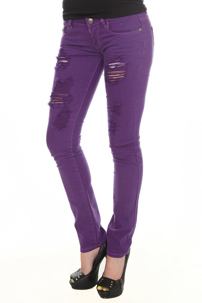 Purple Pants for Women | Machine Purple Destroyed Skinny Jeans For