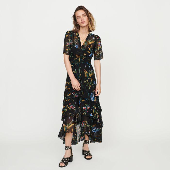 Printed Long Dress With Ruffles E19ruffle Maje Com Wrap Front Dress Ruffle Floral Maxi Dress Maxi Dress