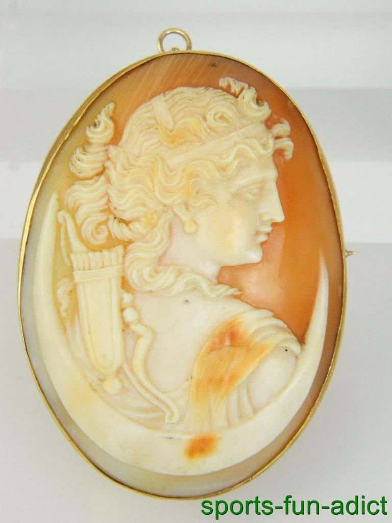 3d43d9919c766 Victorian 14K Large Diana the Huntress Detailed Cameo Shell Brooch ...