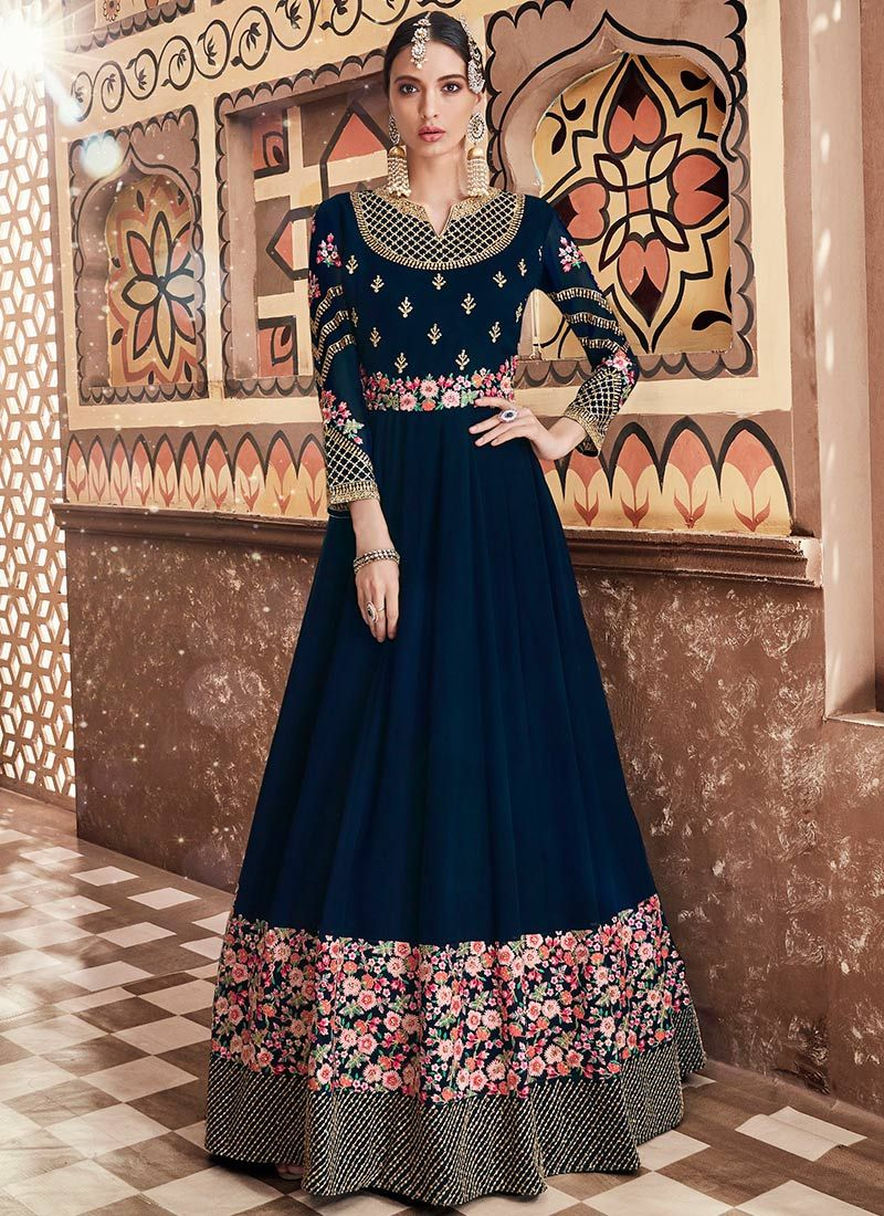 bde6ddc022 This Blue color Party anarkali suit for Women comes with Embroidered Faux  Georgette. Shop Now!