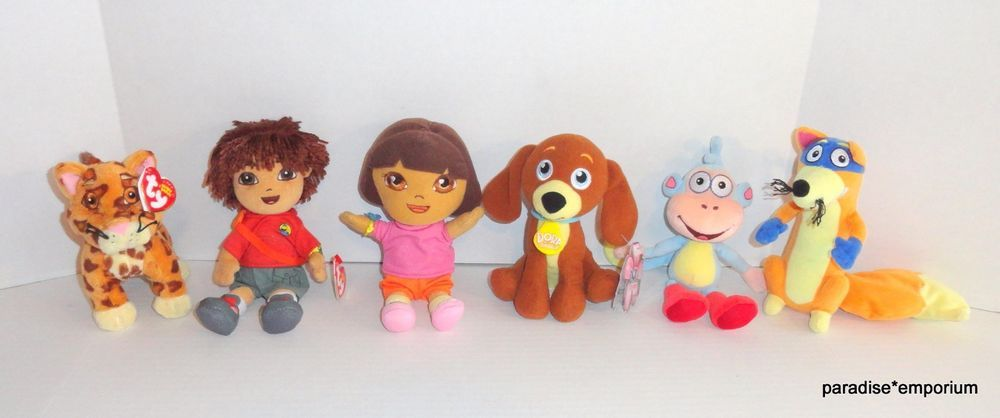 TY Beanie Babies Dora the Explorer Plush Set Lot Diego Boots Swiper   doratheexplorer  toys e2244bf24bb