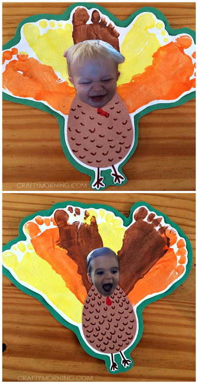 Silly Personalized Footprint Turkey Thanksgiving Craft for Kids - Crafty Morning #thanksgivingcraftsfortoddlers