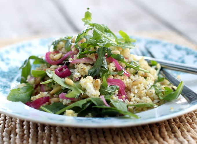 Sprouted Kitchen's Toasted Millet Salad with Arugula, Quick Pickled Onions, and Goat Cheese from My New Roots