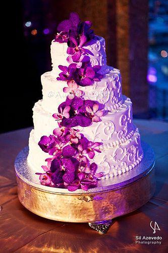 Purple Orchid Wedding Cake Orchid Wedding Cake Wooden Cake Topper Wedding Cool Wedding Cakes