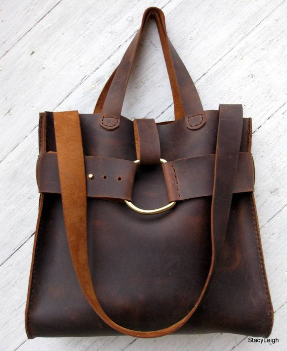 Distressed Brown Cowhide Leather Rustic Harness Tote Bag by Stacy Leigh Ready to Ship
