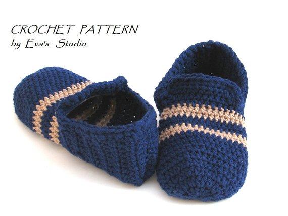 5be9e691f3b4b Crochet Pattern, Men's Slippers, PDF,Easy, Great for Beginners ...