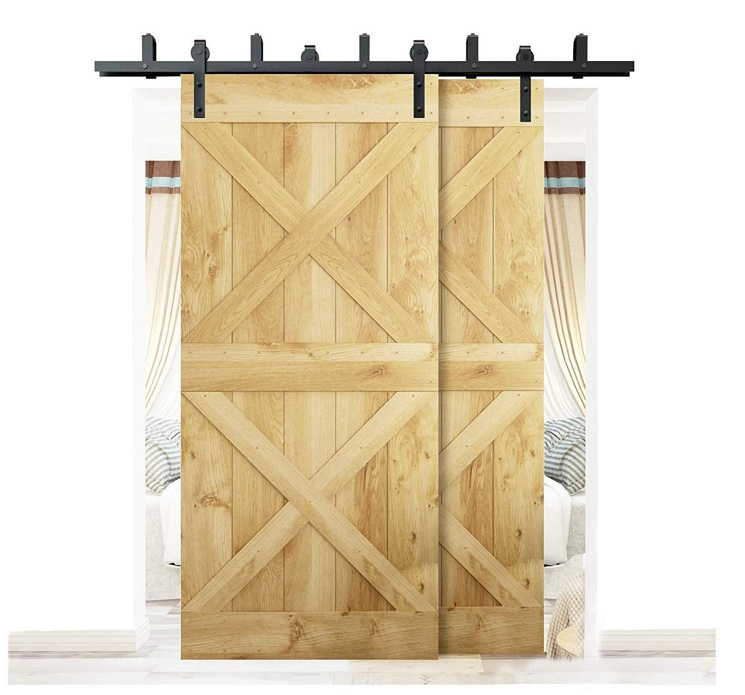 Details About Diyhd 5ft 10ft Rustic Black Bypass Double Sliding Barn Door Hardware Bypass Kit Double Sliding Barn Doors Door Hardware Interior Sliding Doors Interior