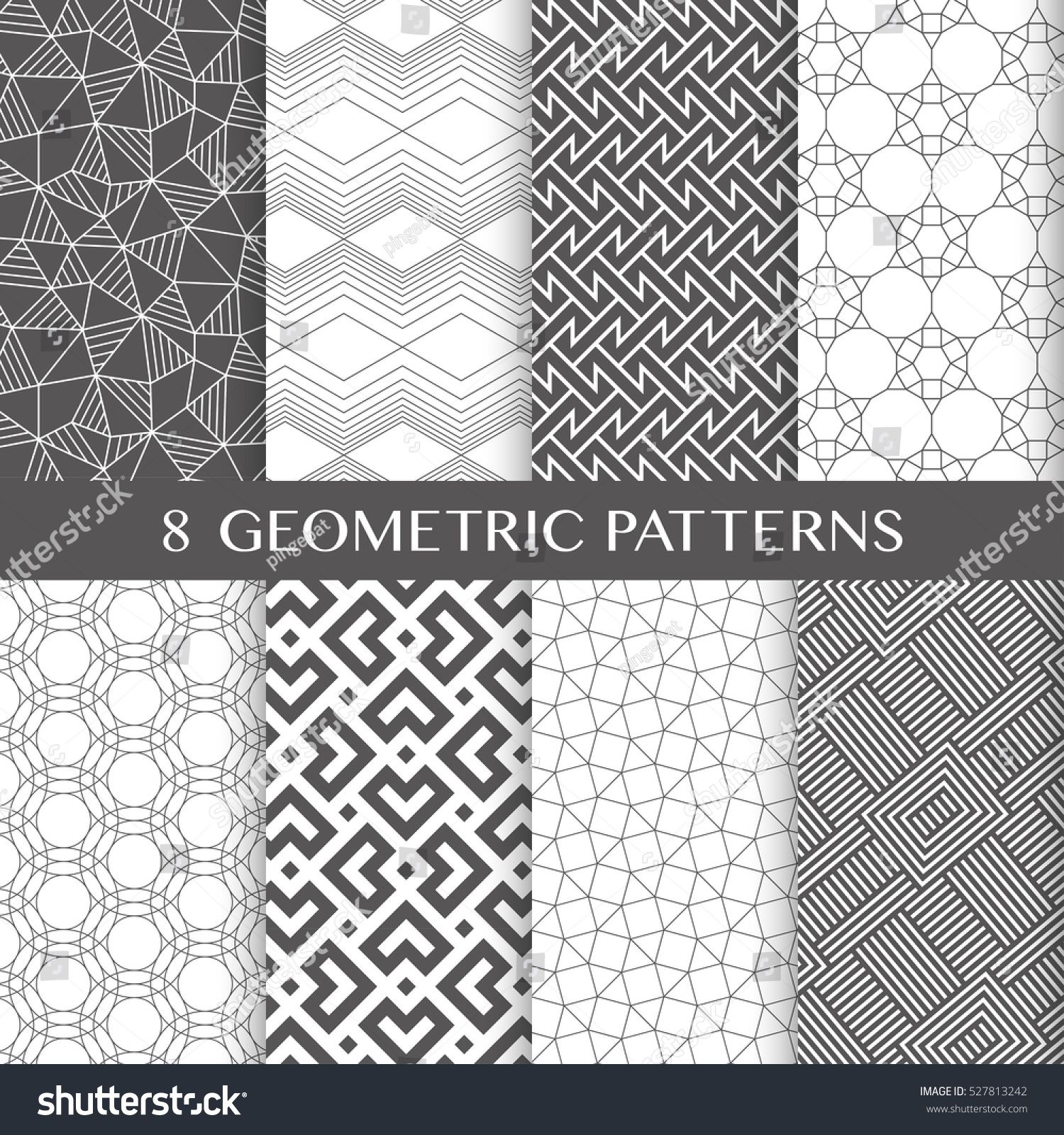 Collection of eight vector seamless geometric linear patterns. The patterns are seamless in all directions.