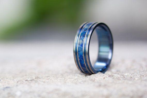 Men's titanium anodized and semi precious stones ring. by Rosler