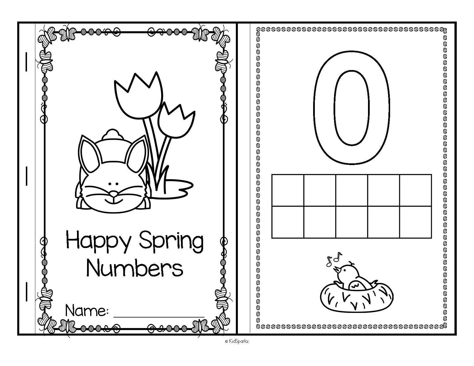 SPRING Theme Numbers 10 Frames Using Bingo Daubers