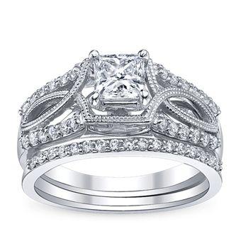 U Two Ladies 14K White Gold and Diamond Wedding Set