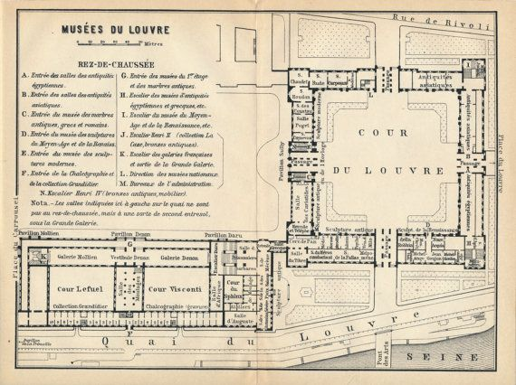 1910 Antique Map of Louvre Museum Paris France by Figure10 on Etsy