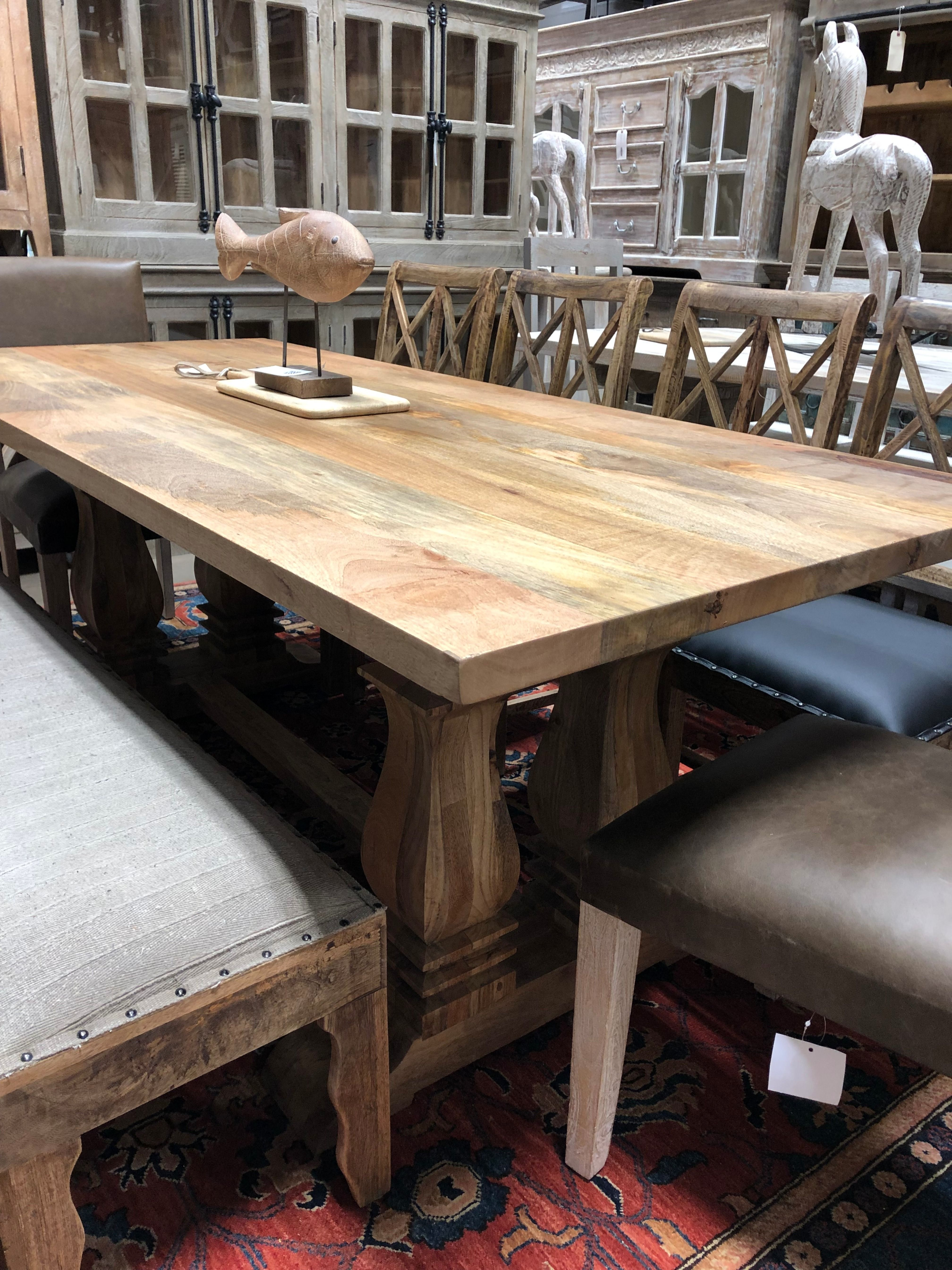 Natural Mango Wood Table On A Double Double Pedestal Handcrafted