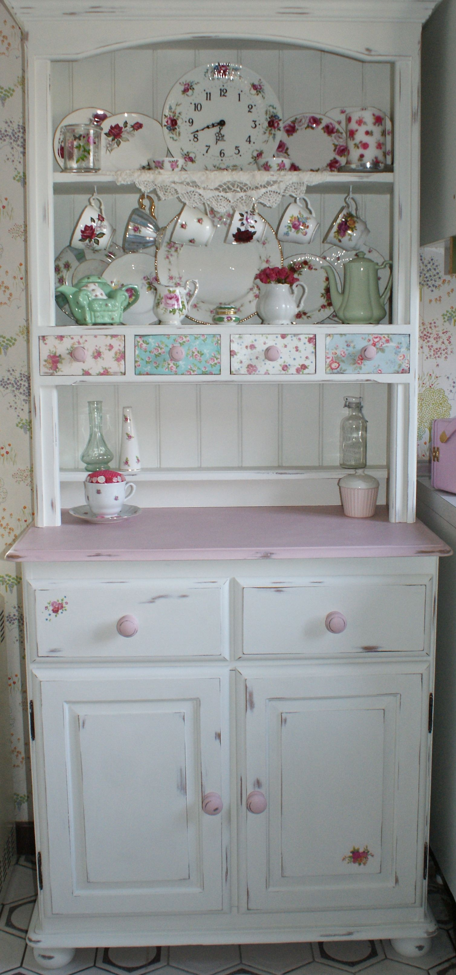 Shabby Chic Kitchen Dresser Painted In Annie Sloan Old White And Antoinette With Decoupage Shabby Chic Dresser Shabby Chic Kitchen Dresser Shabby Chic Kitchen