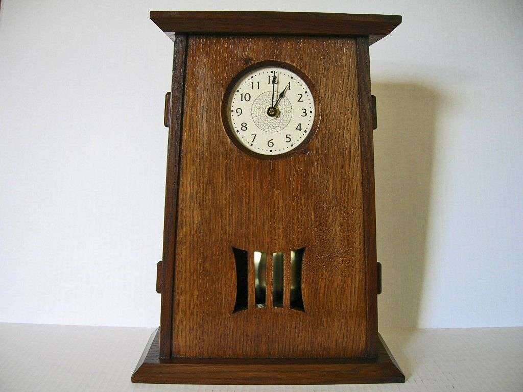 Arts and crafts mantle clock - Arts And Crafts Mantel Clock With Pendulum Tapered Design