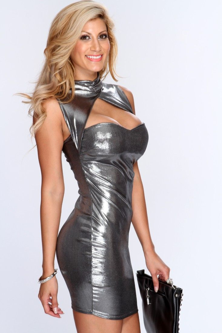 Gunmetal Mock Neck Cut Out Sexy Party Dress