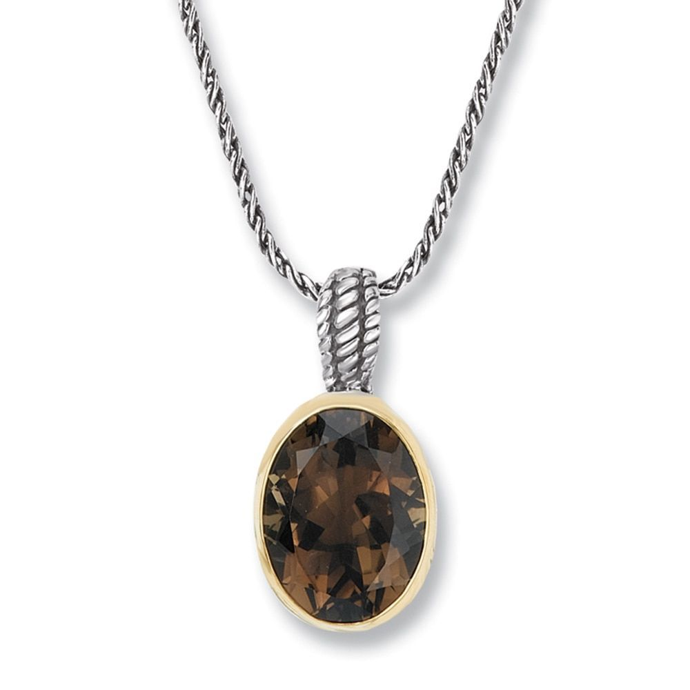 Avanti sterling silver and k yellow gold oval smoky quartz pendant