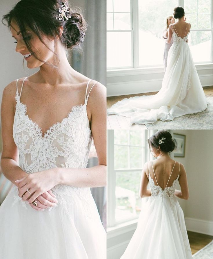 Aline Bridal Dress With Backless Spaghetti Straps In 2020 Backless Wedding Dress Lace Wedding Dress Vintage Wedding Dresses With Straps
