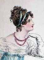 1813 Hair was piled on the head, often in styles imitating those seen on Greek and Roman sculptures. Hair was usually wavy or curled, with a bun or fancy braid at the back of the head. There were usually small ringlets at the forehead.