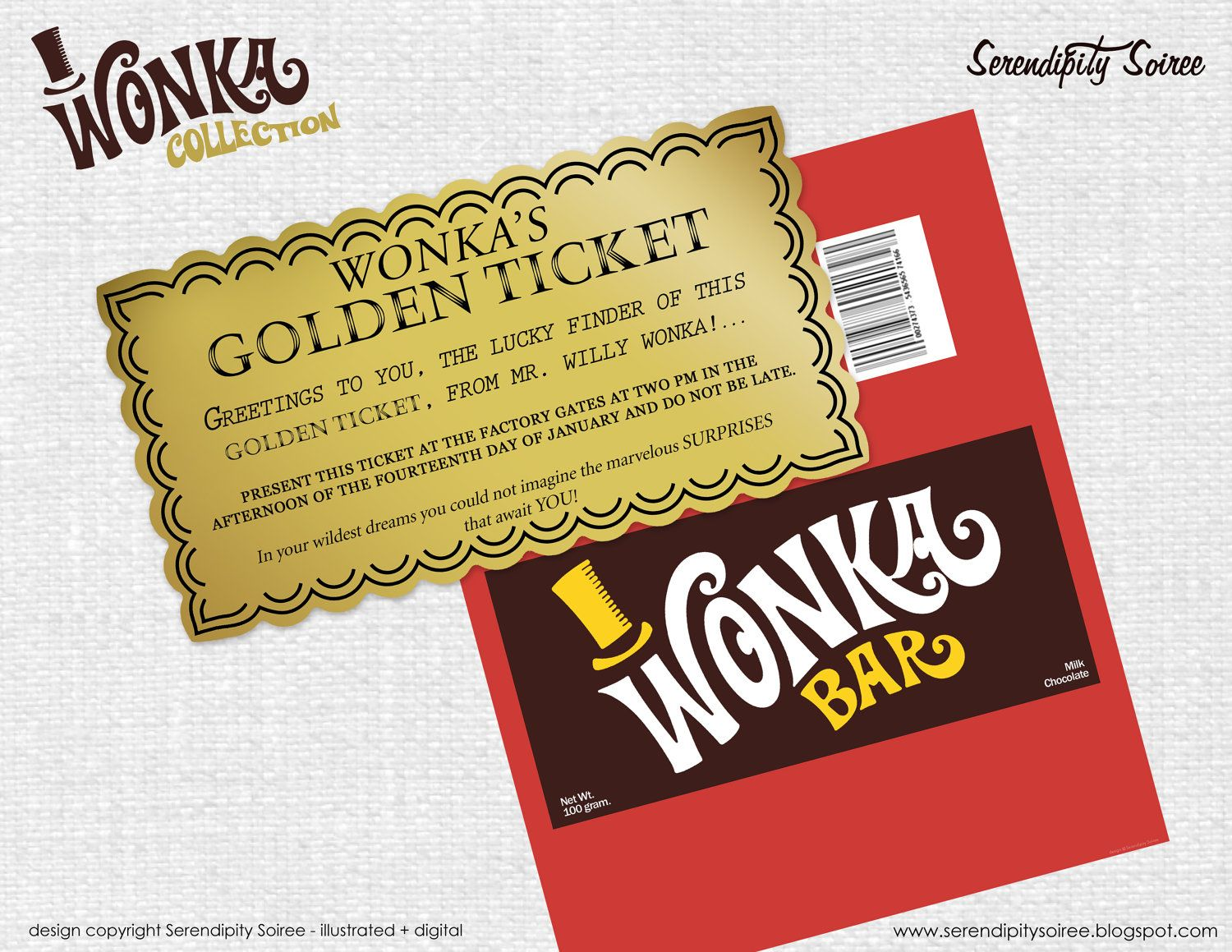 Willy Wonka Chocolate bar wrapper and golden ticket - Invitation ...