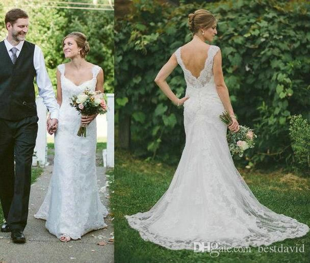 Cheap Rustic Country Lace Wedding Dresses 2016 Cap Sleeves Beaded ...
