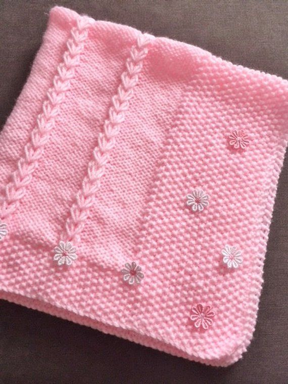 DAISY baby blanket   Pink baby blanket, Knitted baby ...