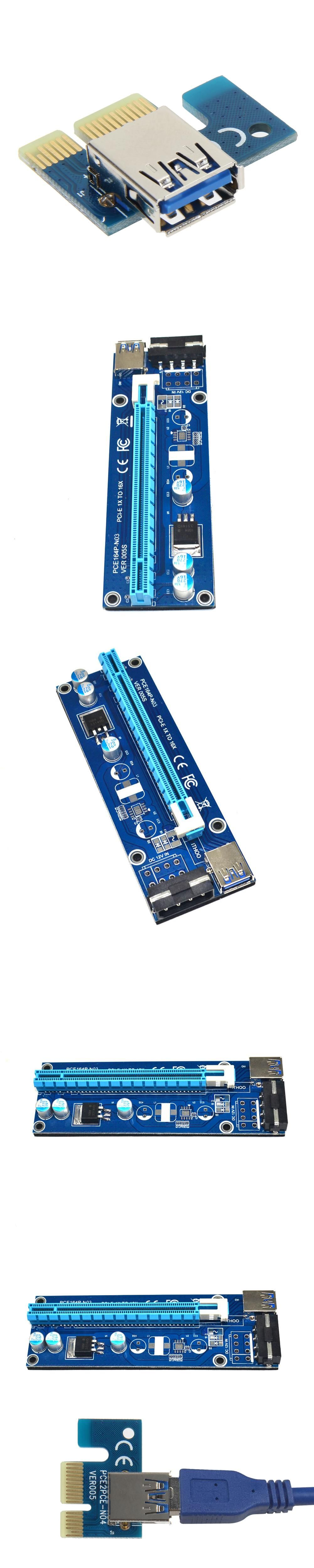 PCIe PCI-E PCI Express Riser Card 1x to 16x USB 3.0 Data Cable SATA ...