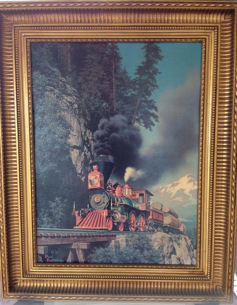 "RARE HTF Paul Detlefsen 1969 ""Around The Bend"" Train Print Reproduction In Frame #Realism"